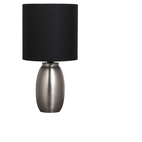 Metal Base Table Lamp Silver With Black Shade Includes Energy Efficient Light Bulb Adesso