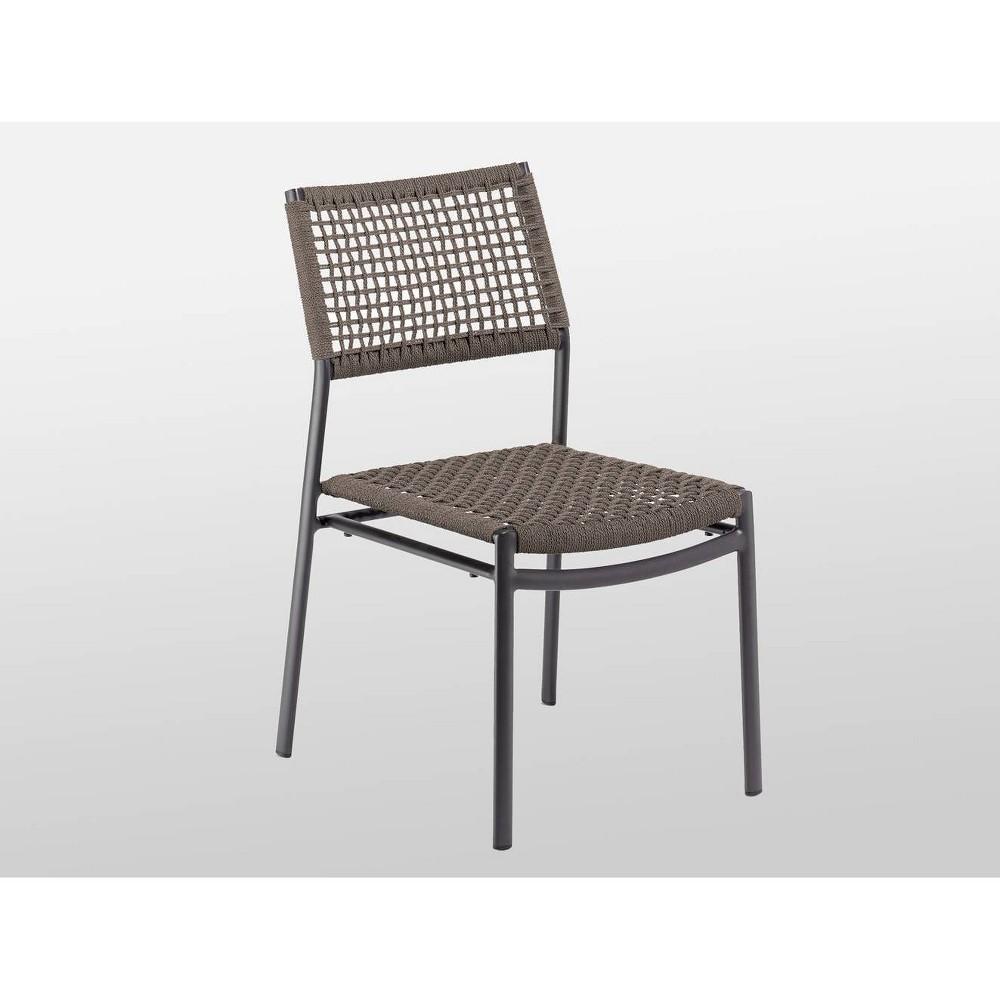 Eiland 4pk Composite Cord Patio Side Chair - Carbon - Oxford Garden, No Cushion