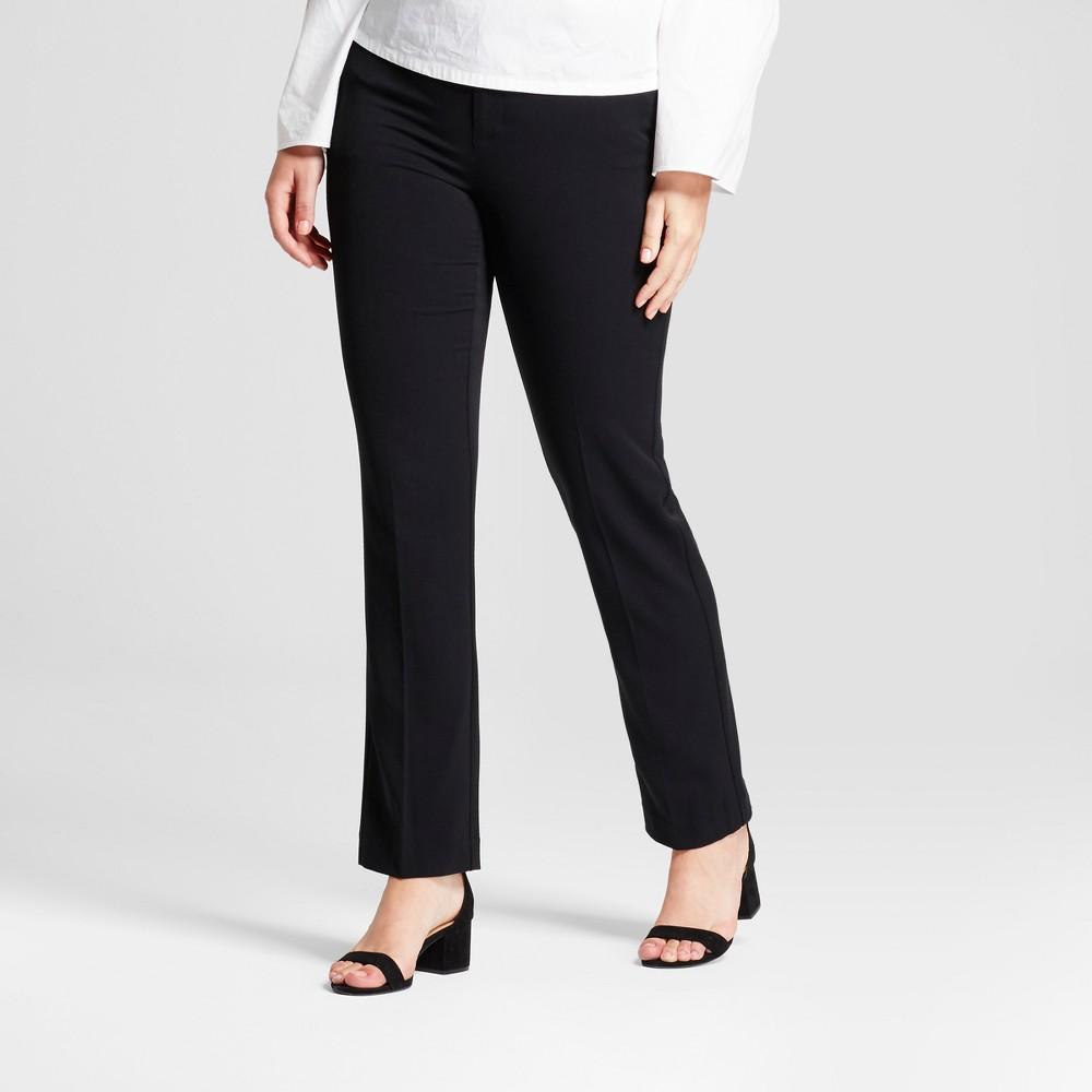 Women's Straight Leg Curvy Bi-Stretch Twill Pants - A New Day Black 6L, Size: 6 Long