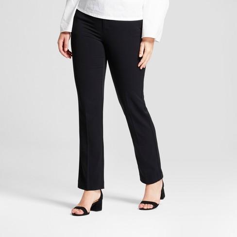 Women's Straight Leg Curvy Bi-Stretch Twill Pants - A New Day™ Black 0L - image 1 of 3