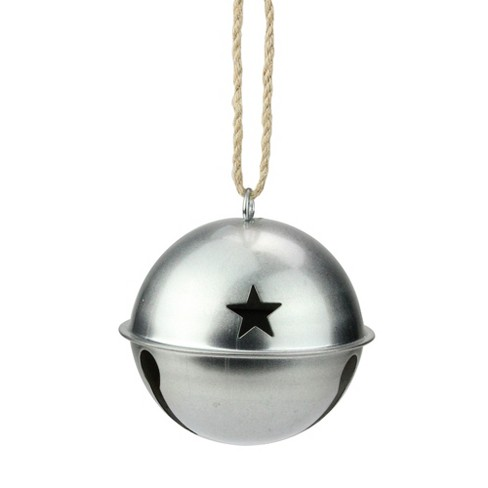 Ganz 3 25 Galvanized Metal Jingle Bell Christmas Ornament With Star Cutouts Silver Target
