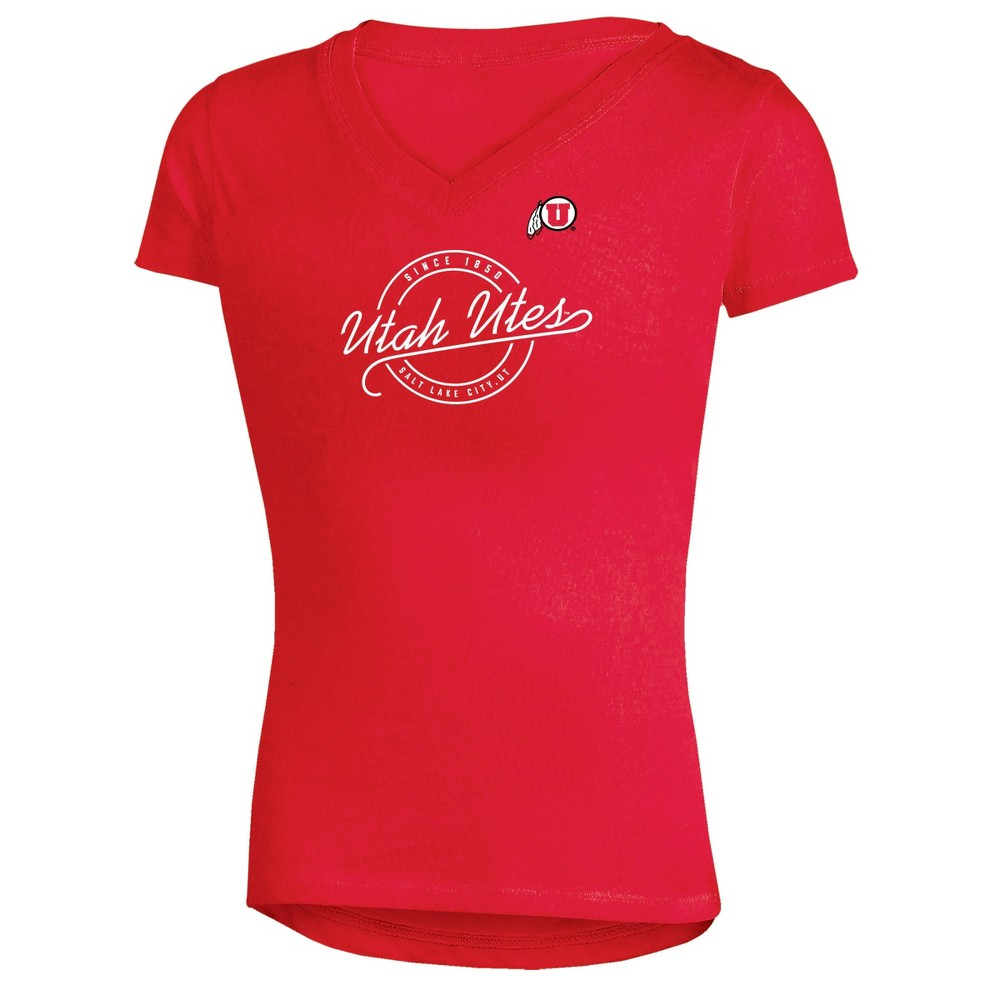 Utah Utes Girls Short Sleeve Puff Print V-Neck Tunic T-Shirt M, Multicolored
