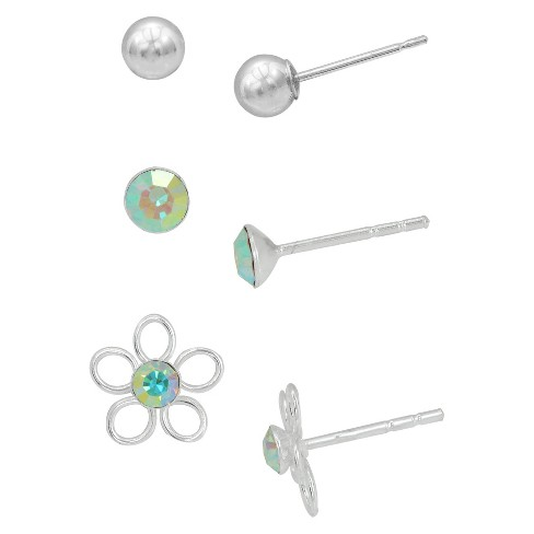 Girls' Sterling Silver 3PR- Ball/Crystal/Flower Stud Set-clear - image 1 of 1