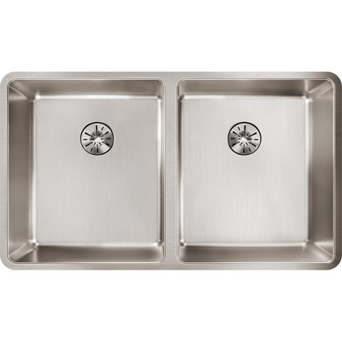 "Elkay ETRU31189PD Lustertone Iconix 33"" Undermount Double Basin Stainless Steel Kitchen Sink - image 1 of 1"
