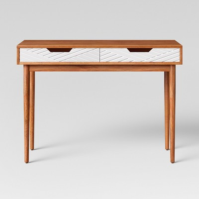 Touraco Wood Writing Desk with Carved Drawers Brown - Opalhouse™