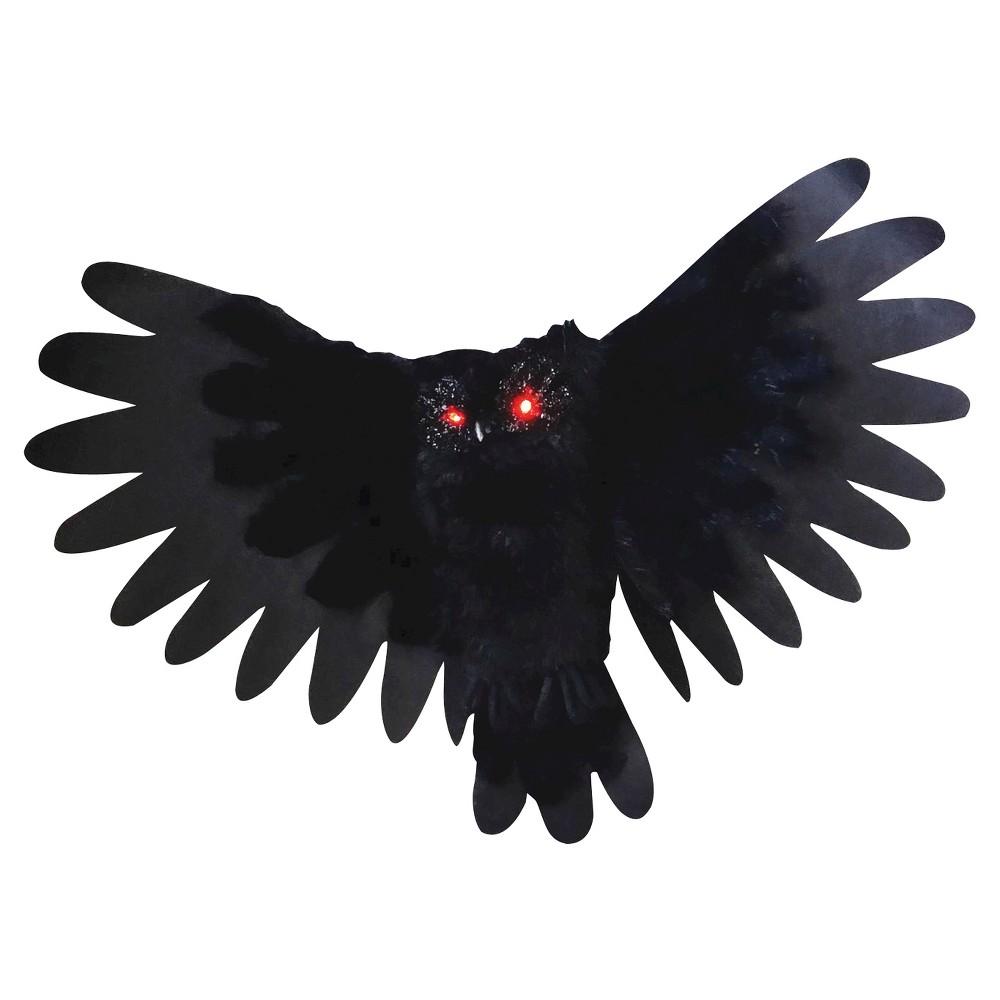 Halloween Animated Owl Decor, Black