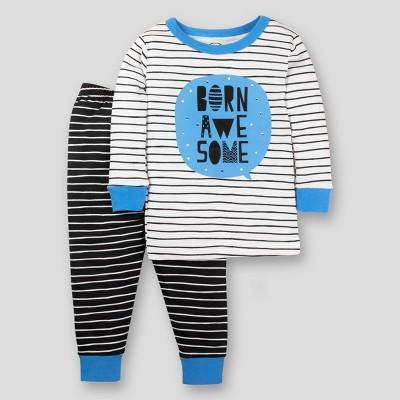 Lamaze Toddler Boys' Organic Cotton Born Awesome 2pc Tights Fit Pajama Set - Blue