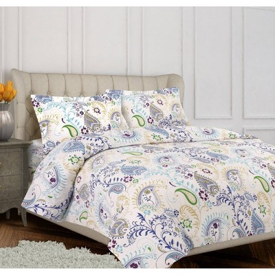 Paisley Garden Cotton Flannel Printed Oversized Duvet Set - Tribeca Living