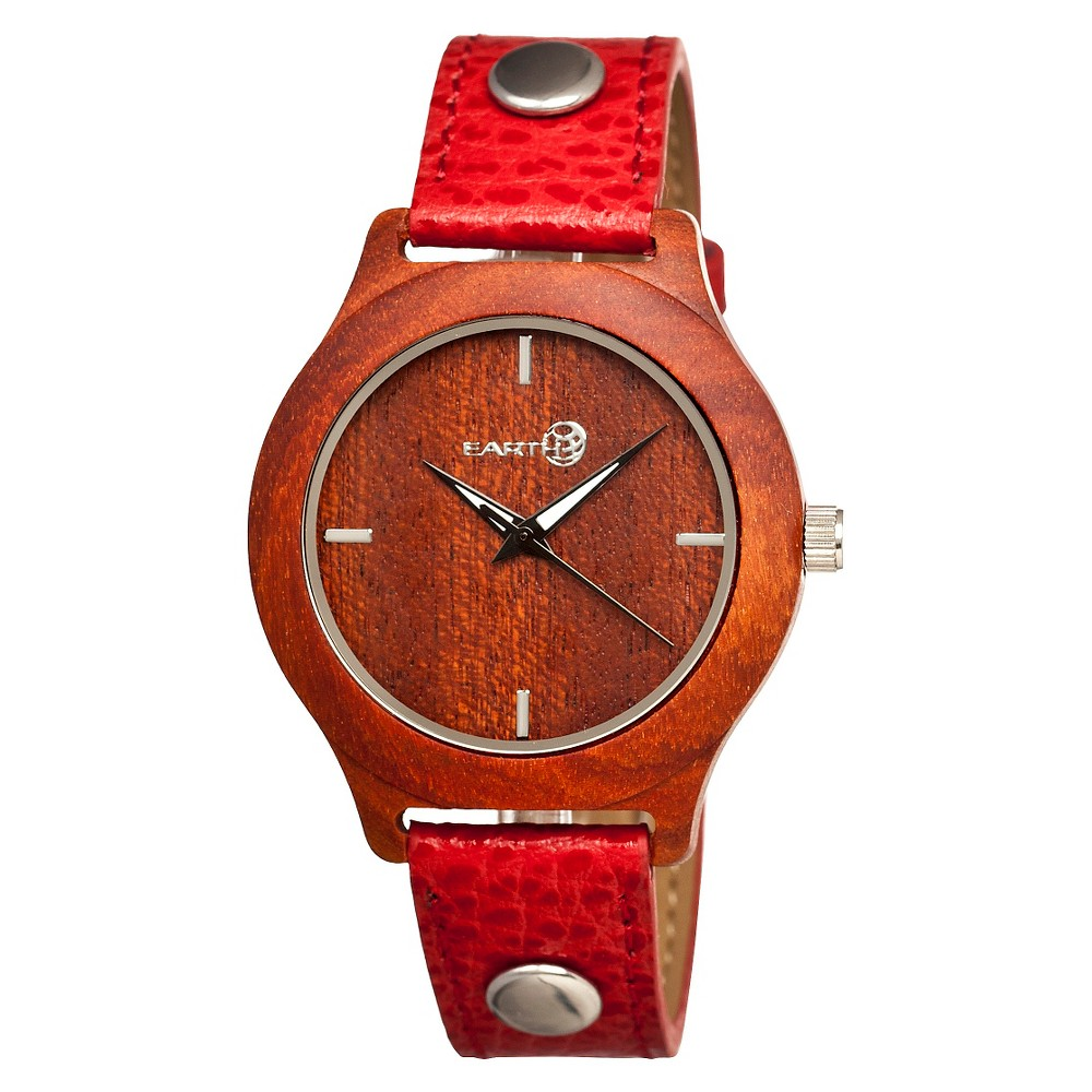 Women's Earth Wood Tannins Watch with Genuine Leather Strap - Red