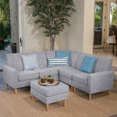 6pc Sawyer Sectional Sofa Set Light Gray Tweed   Christopher Knight Home