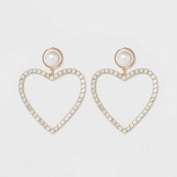 SUGARFIX by BaubleBar Pearl Studs Crystal Heart Hoop Earrings - Pearl