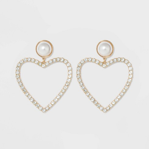 SUGARFIX by BaubleBar Pearl Studs Crystal Heart Hoop Earrings - Pearl - image 1 of 3
