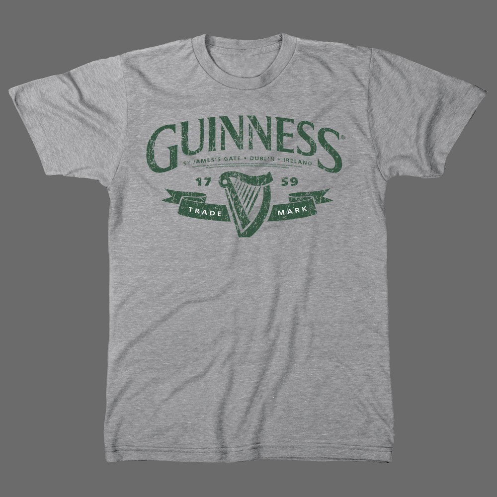 Image of Men's Guinness Short Sleeve Graphic T-Shirt - Gray L, Men's, Size: Large