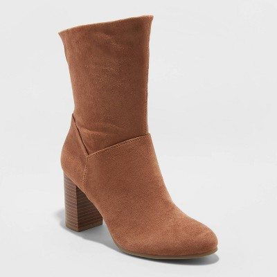 Women's Caralynn Microsuede Heeled Slouch Bootie   A New Day™ by A New Day