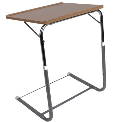 Mind Reader Folding Laptop TV Table Tray with 5 Heights and 3 Angle Adjustments, Brown