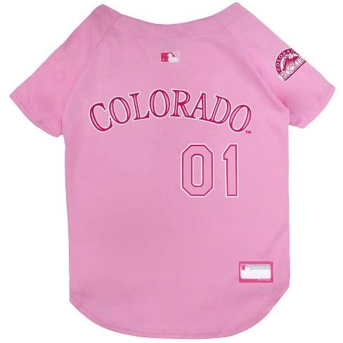 timeless design c99f3 32514 Colorado Rockies Pets First Pink Pet Baseball Jersey - Pink L