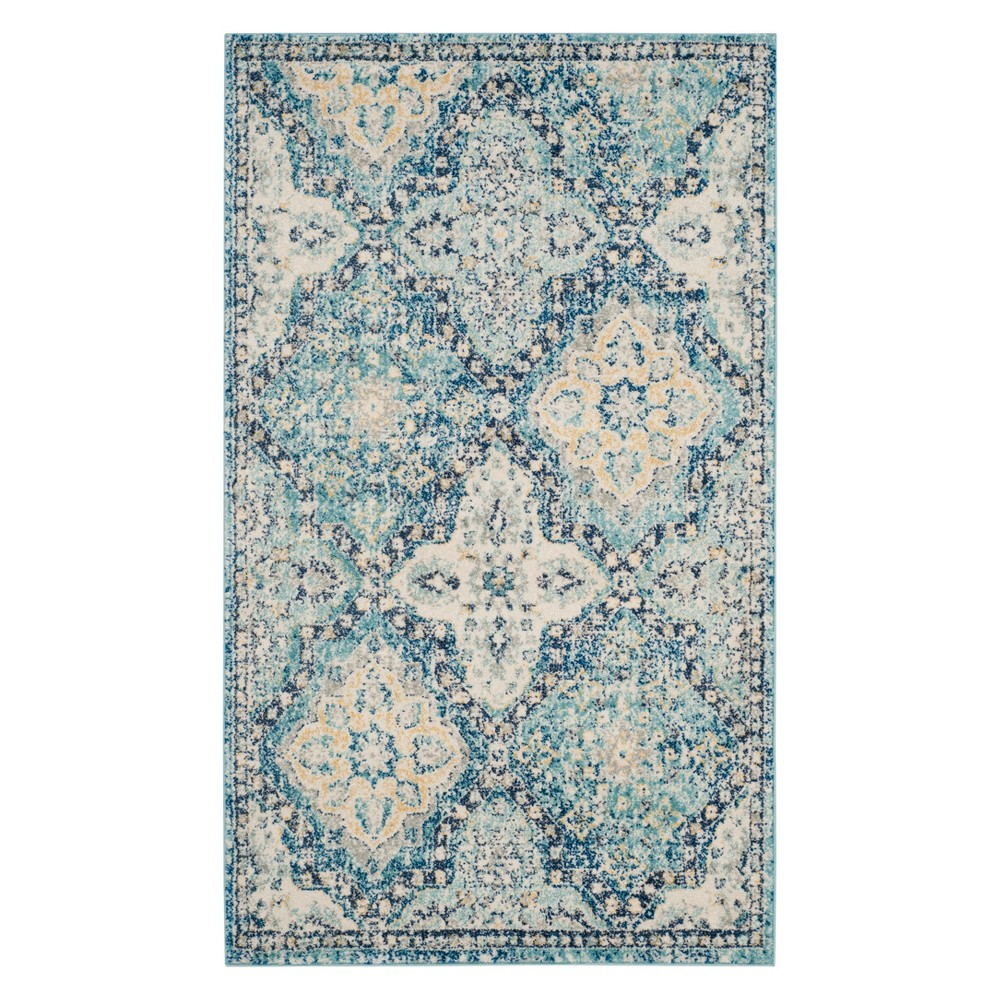 22X4 Medallion Accent Rug Light Blue/Ivory - Safavieh Coupons