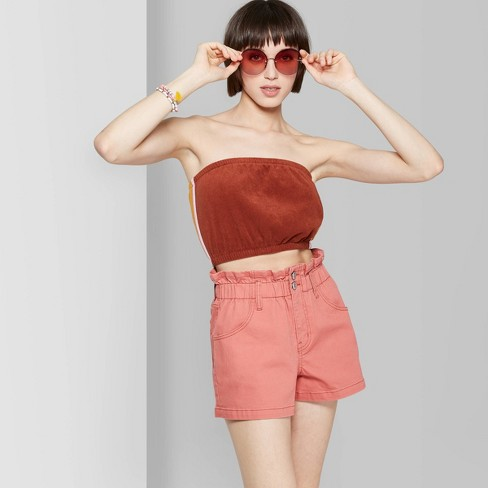 Women's High-Rise Paper Waist Bag Jean Shorts - Wild Fable™ Melon - image 1 of 9