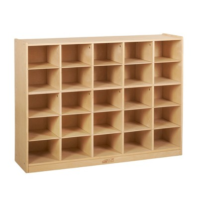 ECR4Kids 25 Cubby School Storage Cabinet, Mobile Storage with 25 Cubbies - Natural