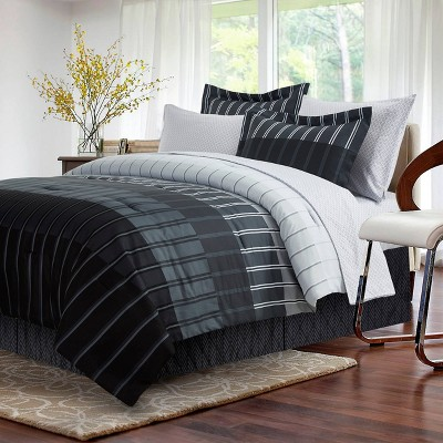 8pc King Ombre Stripe Bed in a Bag Comf Gray - Brown & Grey