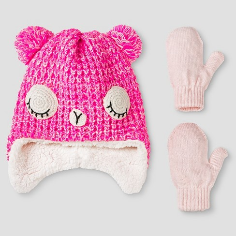 Toddler Girls' Beanie and Mitten Set Pink - Cat & Jack™ - image 1 of 1