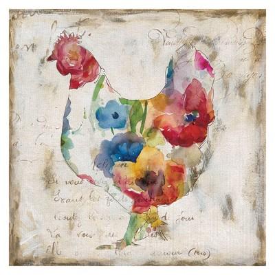 24 x24  Flowered Hen By Carol Robinson Art On Canvas - Fine Art Canvas