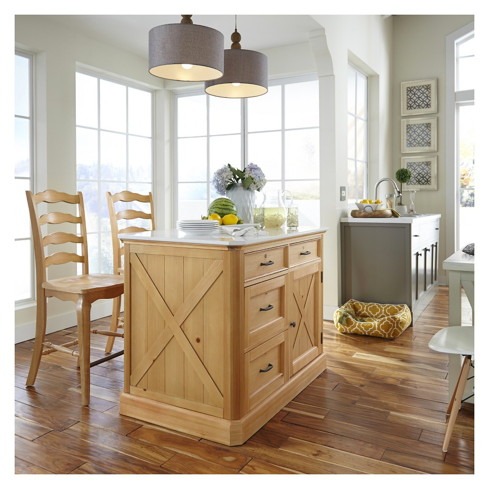 Country Lodge Kitchen Island and Stools - Pine (Green) - Home Styles