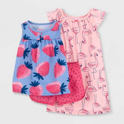 Toddler Girls' 3pc Flamingo Strawberry Pajama Set - Just One You® made by carter's Pink/Blue - image 1 of 3