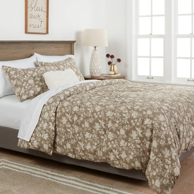 Family Friendly Floral Comforter & Pillow Sham Set Natural - Threshold™ : Target