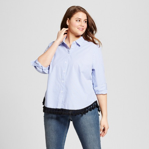 d36c5e5163665 Women s Plus Size Button-Up Tassel Blouse - Who What Wear™ Blue Stripe    Target