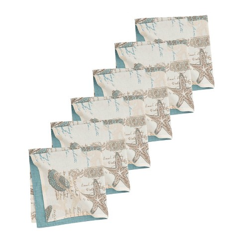 C&F Home Amber Sands Coastal Sea Life Cotton Reversible Napkin Set of 6 - image 1 of 4