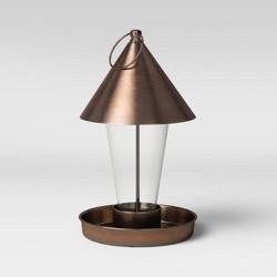 """11"""" Mild Steel/Glass Bird Feeder Copper Brown - Smith & Hawken™"""