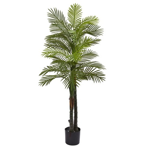 Double Robellini Palm Tree UV Resistant 5.5' - (Indoor/Outdoor) - Nearly Natural - image 1 of 2