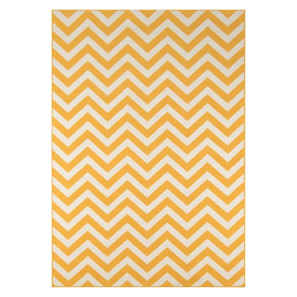 Chevron Loomed Accent Rug Yellow