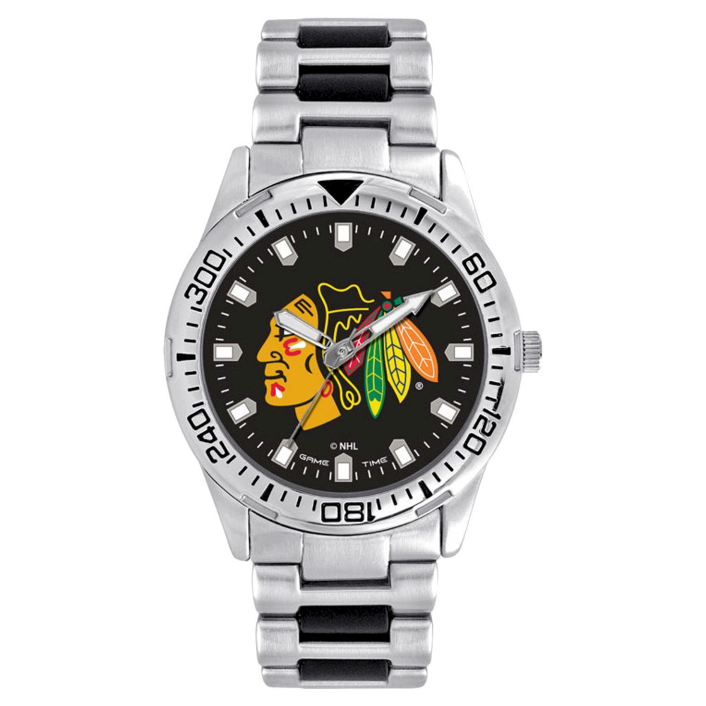 Men's Game Time NHL Heavy Hitter Sports Watch - Silver - Chicago Blackhawks