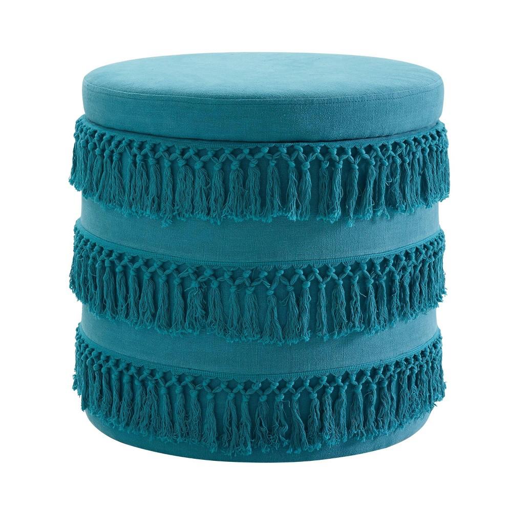 Etta Fringe Ottoman Blue - Linon Etta Fringe Ottoman Blue - Linon Gender: Unisex. Pattern: Solid.