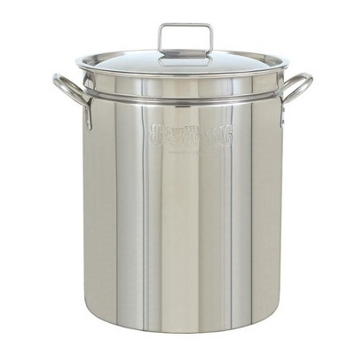 Bayou Classic 24 Quart Stainless Steel Boil Fry Steam Cook Soup Stockpot w/ Lid