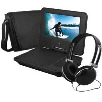 "Ematic EPD707BL Portable DVD Player - 7"" Display - 480 x 234 - Black - DVD-R, CD-R - DVD Video - CD-DA, MP3 - Lithium Ion (Li-Ion)"