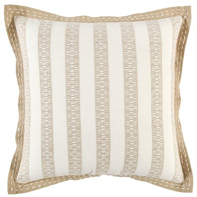 """18""""x18"""" Poly Filled Striped Square Throw Pillow - Rizzy Home"""