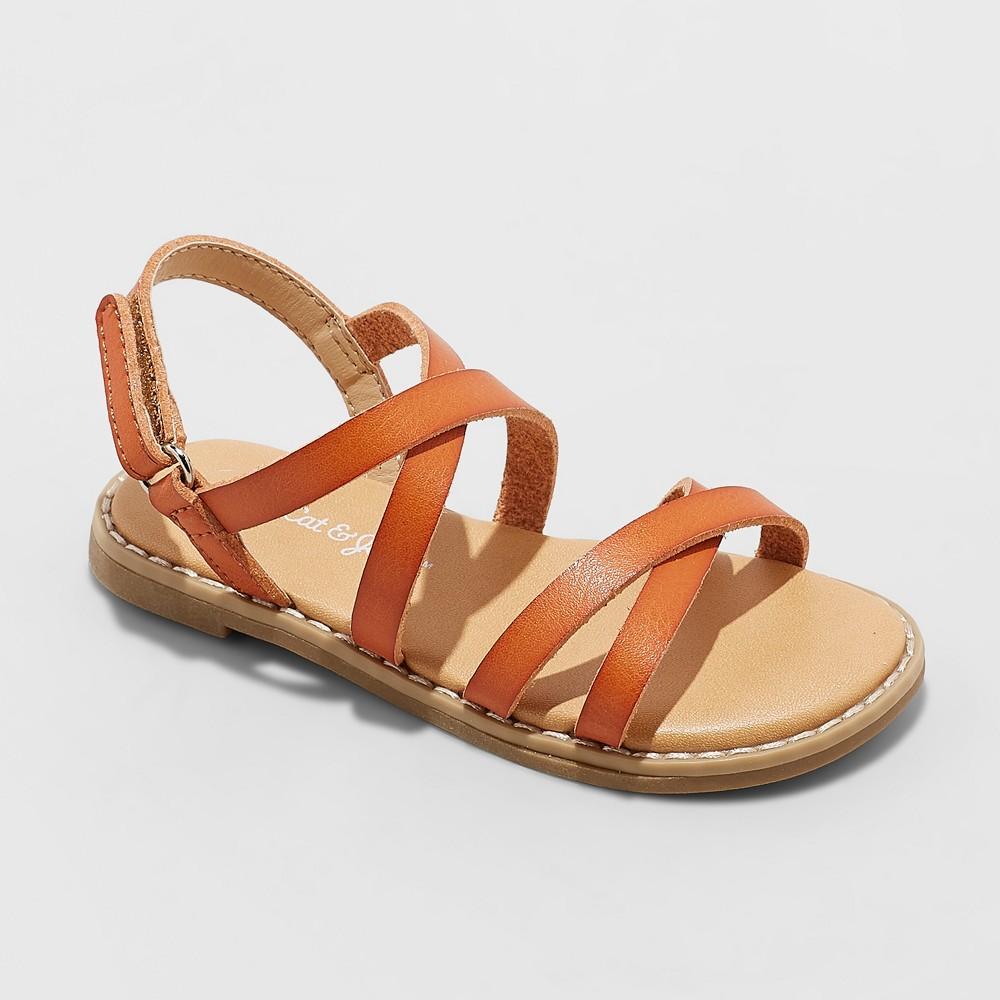 Toddler Girls' Mabyn Slide Sandals - Cat & Jack Cognac (Red) 7