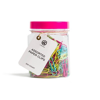 U Brands 300ct Assorted Paper Clips in Small Mason Jar Retro