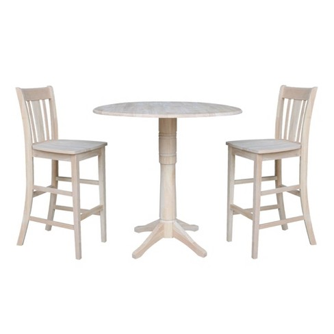 """42.3"""" Martin Round Bar Height Table with Two San Remo Stools Blue - International Concepts - image 1 of 4"""