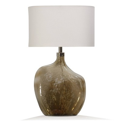 Amber Art Glass Base Table Lamp with Round Linen Drum Shade Chrome - StyleCraft