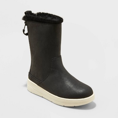Girls' Olive Double Zipper Slip-On Winter Shearling Style Boots - Cat & Jack™