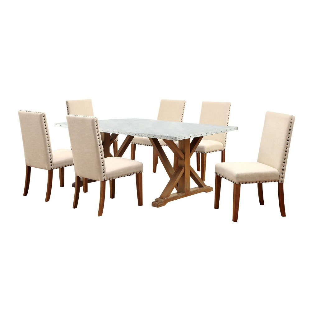 Sun & Pine 7pc Iron Table Top Nail head Trimmed X-Crossed Base Dining Table Set Wood/Natural Tone