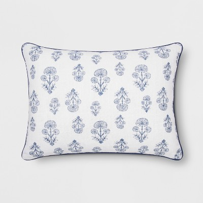 Block Print Lumbar Throw Pillow White/Blue - Threshold™