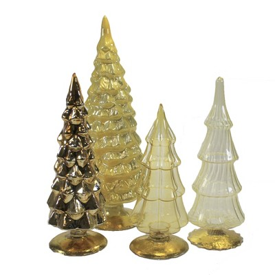 """Christmas 11.0"""" Yellow Holiday Glass Trees Set/4 Decorate Mantle Christmas  -  Decorative Figurines"""