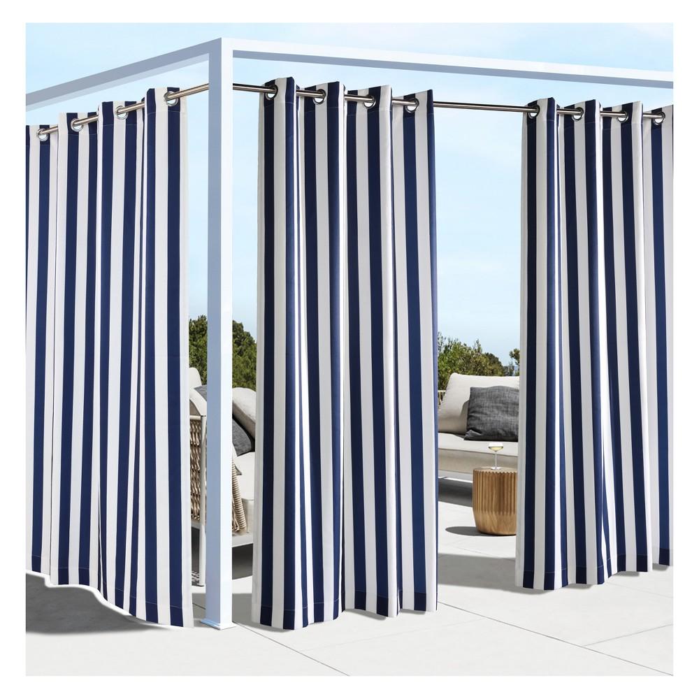 "Image of ""50""""x108"""" Coastal Printed Stripe Grommet Top Indoor/Outdoor Blackout Curtain Panel Navy - Outdoor Décor"""