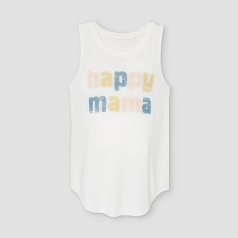 Happy Mama Graphic Maternity Tank Top - Isabel Maternity by Ingrid & Isabel™ Light Beige - image 1 of 2