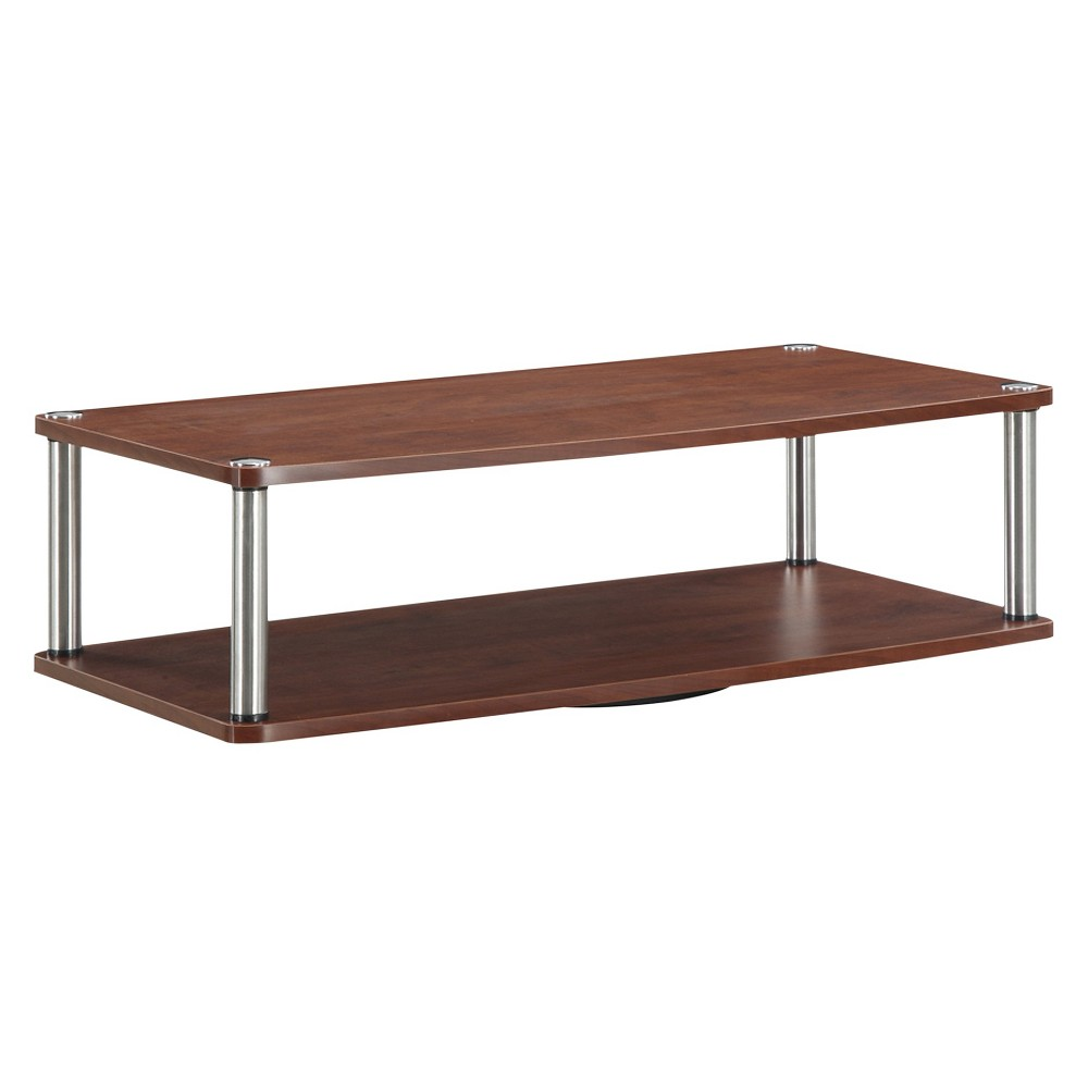 """Image of """"32"""""""" Two Tier Swivel TV Stand Cherry - Johar Furniture, Brown"""""""
